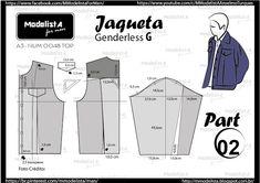 ModelistA: A3 NUMo 0048 TOP Oversized Denim Jacket, Denim Jacket Men, Gender Bender, Textile World, Sewing Men, Modelista, Fashion Design Drawings, How To Make Clothes, Pattern Cutting