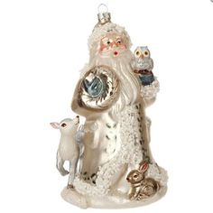 """Absolutely Stunning! Studded with beads  Graphic Woodland - 6"""" Forest Animals Santa Claus Christmas Tree Ornament http://www.amazon.com/dp/B016M1NO76/ref=cm_sw_r_pi_dp_jamswb0ZQC4D4"""