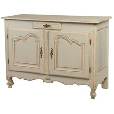 Louis XV Style Painted Provencal Buffet - This is a wonderful Louis XV Buffet painted light gray/blue with off white trims. The doors have raised arched panels softened at the corners with a carved C-scroll. The scalloped apron has a carved shell motif and the front legs have escargot shaped feet.. Circa 1800's ref. 7070 | French antiques | Négrel Antiques