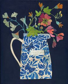 """""""The Butterfly Jug"""" Mixed media painting with collage on wood by Rachel Grant"""