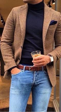 This camel sport coat with blue jeans and dark navy blue turtle neck sweater is a perfect summer or fall casual or date night style. Stylish Mens Outfits, Casual Outfits, Men Casual, Fashion Outfits, Smart Casual Menswear Summer, Fashion Ideas, Summer Outfits, Smart Casual Coat, Casual Styles