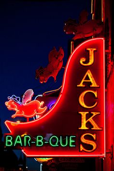 Jack's Bar-B-Que Neon Sign , Nashville, TN . Imagine the other little piggies flickering off & on. That fascinated me as a kid.