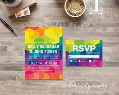 Colorful and Bright Geometric Wedding Invitations --- Rainbow Colors --- Modern and Fun