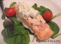 Ma cuisine de tous les jours: Filet de saumon poché au four, mayonnaise au basilic