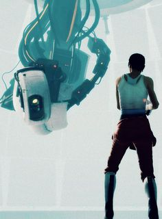 GLaDOS and Chell... - Well here we are again. It's always such a pleasure. Remember when you tried, to kill, me twice. Oh how we laughed and laugh, except I wasn't laughing. Under the circumstances I've been shockingly nice... (Whoever got that is a real hero)