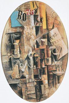 Violín, copa, pipa y tinero - 1912 Pablo Picasso, Pipes