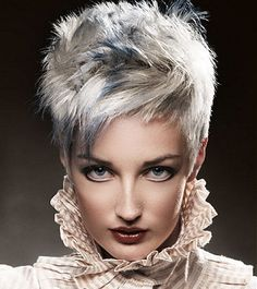 A short blonde straight spikey coloured Mature Layered Multi-Tonal hairstyle by Anne Veck Hair