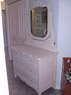 Antique dresser, solid wood, dovetail joins, orginal mirror and casters, keyholes in each drawer, new glass knobs For Sale $400