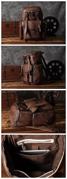 Handmade Vintage Brown Leather Backpack Casual Rucksack Travel Backpack Hiking Backpack MT06 - Brown