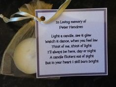 50 x Personalised scented candle favors - memorial funeral condolence with poem