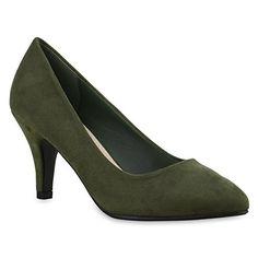 Klassische Damen Pumps Spitze High Heels Basic Stiletto Riemchenpumps Kroko Print Schuhe 135158 Dunkelgrün 37 | Flandell® - Damen pumps (*Partner-Link)