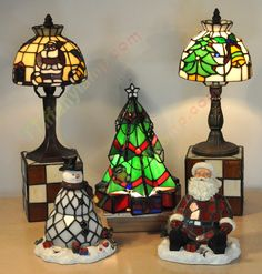 CHRISTMAS-TIFFANY-ACCENT-LAMPS--Set