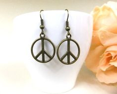Bronze Peace Earrings Peace Sign Earrings Peace by BeadSparkleZ