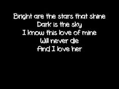 and i love her the beatles lyrics..one of my wedding songs :)