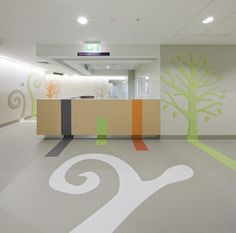 International flooring and interiors specialist Gerflor are at the very forefront of R&D when it comes to supplying the manufacturing support and products to enable this bespoke look and feel for a wide range of their clients and installers. Medical Design, Healthcare Design, Children's Clinic, Healthcare Architecture, Interior Architecture, Creative Kids Rooms, Kindergarten Design, Hospital Design, Clinic Design
