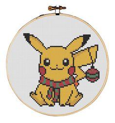 MADE TO ORDER  Christmas Pikachu  5 Inch Cross by RedVelvetsCrafts