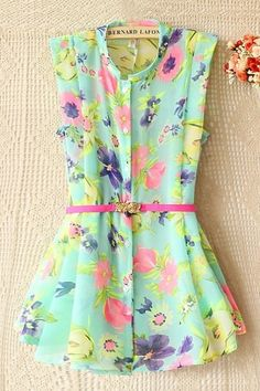 Floral Print Standing Collar Shirt - this would look cute with ankle length cigarette pants or even a high waist pencil skirt