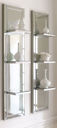 mirror decor Mirrored Shelf Wall Panel - antiqued, beveled galss is framed in silver finished wood. Wall Mirror With Shelf, Mirror Shelves, Mirrored Floating Shelves, Wall Mirror Ideas, Mirror Collage, Mirror Art, Wall Decor With Mirrors, White Wall Shelves, Bookcase Wall