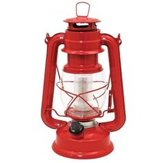 Vintage Style Red LED Lantern by QCI Direct, Inc.. $19.99. Enjoy safety plus performance. 12 bright, high intensity, long life (10,000 hr.) LED bulbs light the night. Authentic vintage style looks great indoors or out. Lantern has a built-in dimmer switch, swing up wire handle and dome lift lever. Use on a table, shelf or hang. Requires 2 D batteries (not incl.)