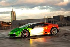 Lamborghini Huracan Wrapped in Tricolor Flames by Print Tech – automotive99.com