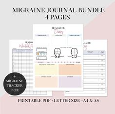 This Migraine Journal will help you keep tabs on the frequency of your head pain. Headache Diary, Migraine Diary, Migraine Pain, Headache Tracker, Chronological Bible Reading Plan, Tracker Free, Prayer List, Workout Log, Head Pain