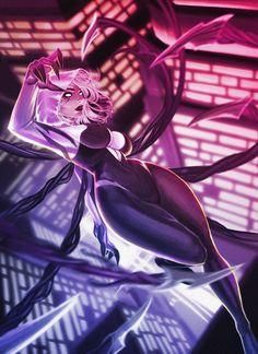 Drawing Marvel Gwenom by Vymnis - Marvel Venom, Marvel Art, Marvel Heroes, Marvel Spider Gwen, Spider Gwen Venom, Venom Girl, Spider Art, Spider Verse, Fantasy Anime