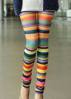 Ankle Length Colorful Stripes Leggings – teeteecee - fashion in style