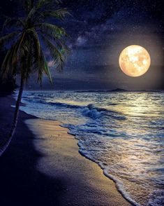 Photographic Print: Beautiful Fantasy Tropical Beach with Milky Way Star in Night Skies, Full Moon - Retro Style Artwor by jakkapan : Milky Way Stars, Shoot The Moon, Moon Art, Nature Pictures, Pics Of Nature, Ocean Pictures, Nature Images, Belle Photo, Night Skies