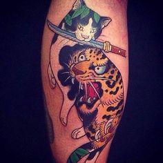 Cat with knife Tattoo   #Tattoo, #Tattooed, #Tattoos