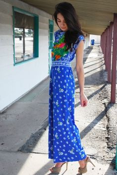 Vintage Palazzo Jumpsuit 60s 70s Sleeveless Floral Framed Cobalt PSYCHEDELIC Pantsuit S  by:-waistedvintage