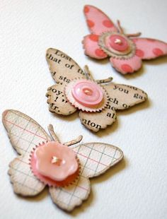 Button butterfly card embellishments