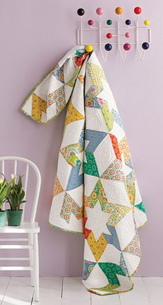 Star Flowers - full-size contemporary quilt with set-in seams