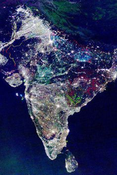 Picture from International Space Station of India's festival Diwali and lighting. {Check out Astronaut Chris Hadfield's Pinterest board for more photos from the space station}