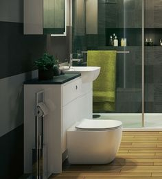 Klassieke badkamer met keramisch duobloc toilet, staande wastafel op ...