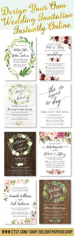 Beautiful wedding invitations - printable templates - perfect for rustic, boho, elegant, simple, cheap & affordable DIY weddings // Edit this printable template instantly in user-friendly online design tool //Truly DIY custom design for your perfect wedding: edit all the texts + choose your background, text color & font style! // Including trending wood, marble, chalkboard backgrounds & designer fonts. //Free demo. Click & Try it! #diyinvitations #diybride #diywedding