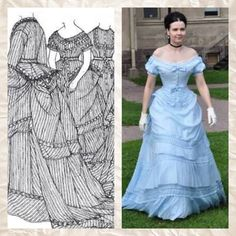 1870-1 (replica) A dress in white silk and cotton mixture with a dull cornflower blue satin stripe. There are two bodices, one for day and one for evening wear. The Gallery of English Costume. Patterns of Fashion 2 page 28