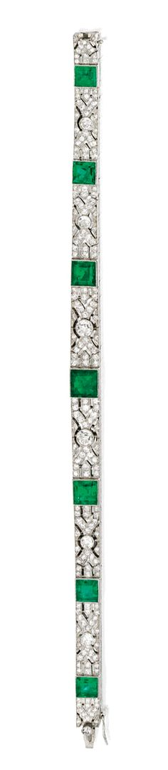 PLATINUM, EMERALD AND DIAMOND BRACELET, VAN CLEEF & ARPELS, CIRCA 1925.  The articulated strap set with seven square-cut emeralds weighing approximately 7.35 carats, accented by numerous old European and single-cut diamonds weighing approximately 3.55 carats, length 7½ inches, signed Van Cleef & Arpels, numbered 828, with French workshop and assay marks.