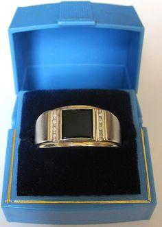 Dason Mens 10K White Gold Diamond & Onyx Ring Size by omnistar