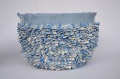 blue porcelain leaves vase