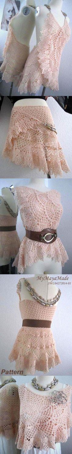 Crochet Pattern - Lithe and Pierced Crochet Dress, Shawl or Skirt                                                                                                                                                                                 More