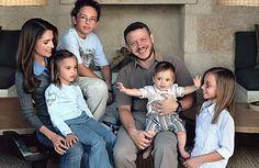 The Jordanian royal family -   From left: Queen Rania, Princess Salma, Prince Hussein, King Abdullah,  Prince Hashem and Princess Iman