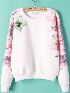White Long Sleeve Floral Print Sweatshirt 20.83