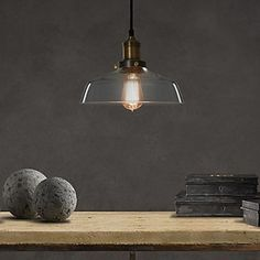 60W Classical Pendant Light with Transparent Glass Shade in Factory Style – LightSuperDeal.com