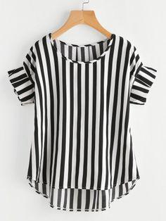 Contrast Vertical Striped Ruffle Sleeve Dip Hem Top
