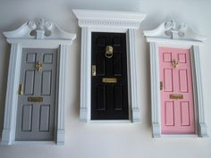 """""""tooth fairy"""" doors to hang on wall made from dollhouse doors. so cute!"""