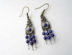 Boucles d'oreilles fantaisie perles bleues : Boucles d'oreille par chipshop