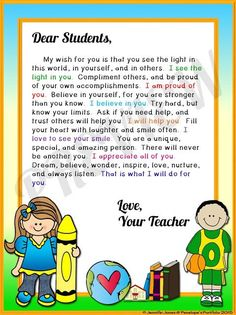 Teacher Wisdom:  Classroom Management Tips  Welcome or Inspiration Letter to students or parents.  http://www.penelopesportfolio.com/2015/09/teacher-wisdom-classroom-management-tips.html: