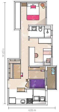 Piso uniforme traz amplitude ao apê de 42 m² - Casa