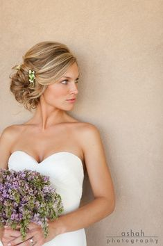 perfect wedding hair and beautiful lilac bouquet ... LOVE THE HAIR!