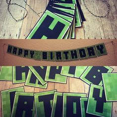 Add this banner to your Minecraft(TM) obsessed childs birthday party!  Letter pennants measure approx 3.25 x 2.5. Banner Lengths: Happy Birthday - 6ft w/name (2 banners, unless specified) - HBD - 5ft  name - 4ft  For custom banner with name option, note in message box at checkout what name youd like added. Please contact me with any questions!  NOT OFFICIAL MINECRAFT(TM) PRODUCT. NOT ASSOCIATED WITH MOJANG.